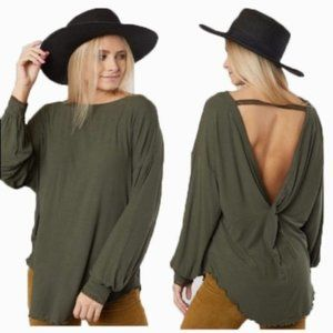 Free People Shimmy Shake Long Sleeve Oversized Top T Shirt Backless NWT S